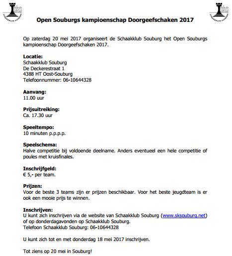 Doorgeefschaaktoernooi 2017