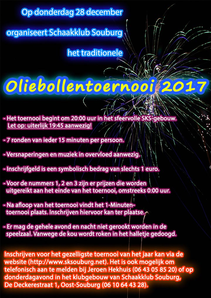 Aankondiging Oliebollentoernooi 2017