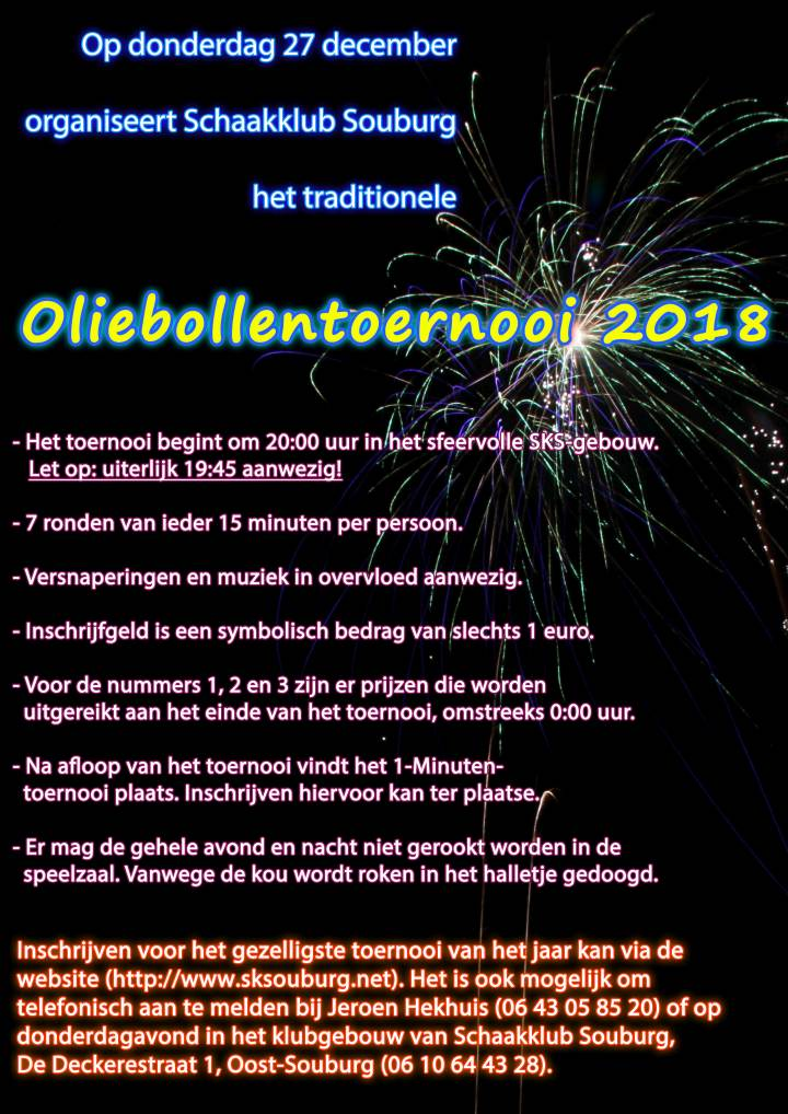 Aankondiging Oliebollentoernooi 2018