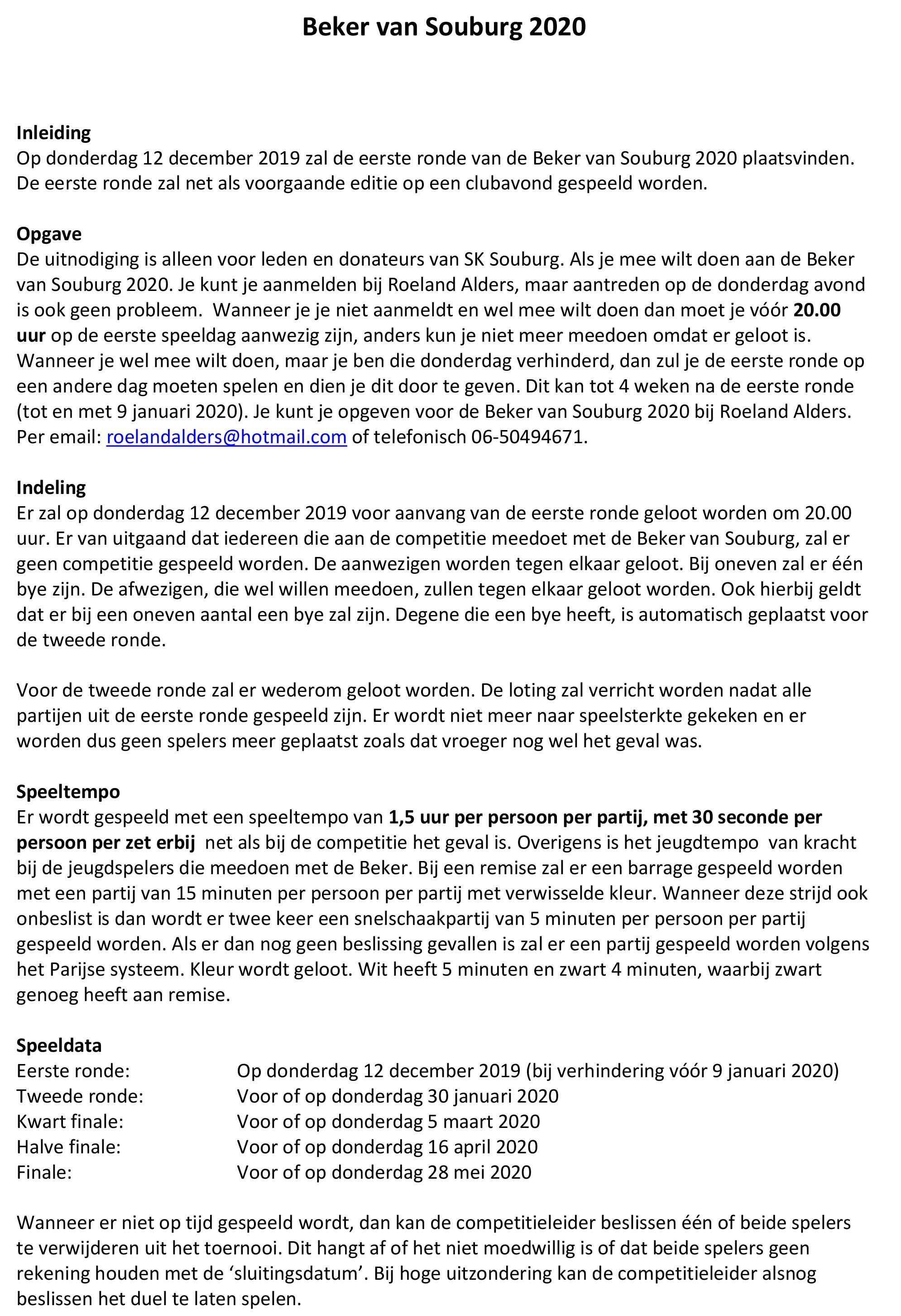 Uitnodiging Beker van Souburg 2020