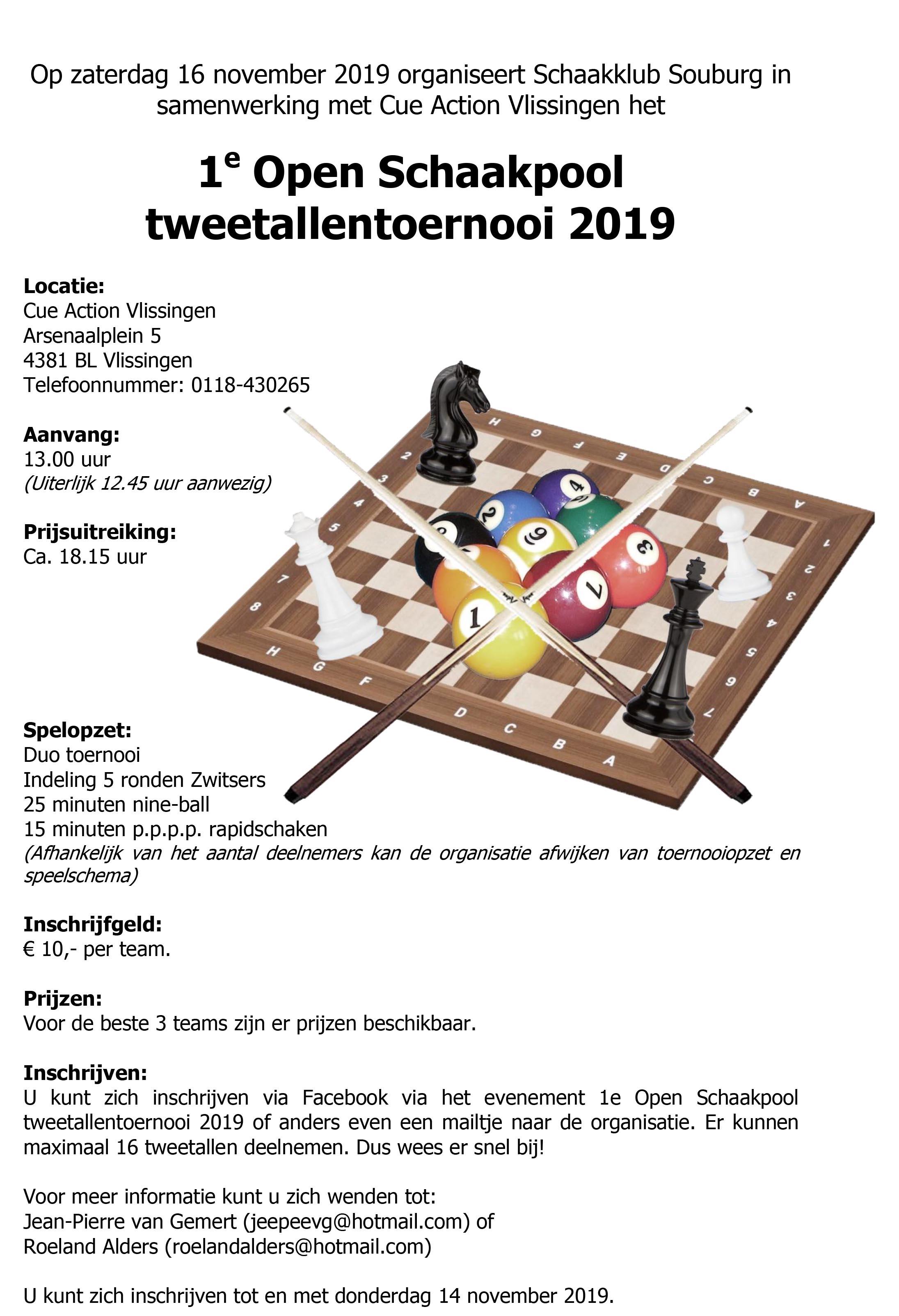 Uitnodiging Schaakpooltoernooi 2019